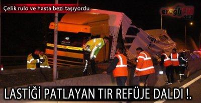 LASTİĞİ PATLADI, FACİADAN DÖNÜLDÜ !.