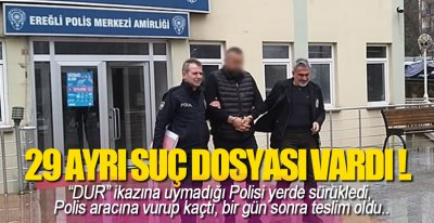 POLİS ARACINA VURUP KAÇTI !.