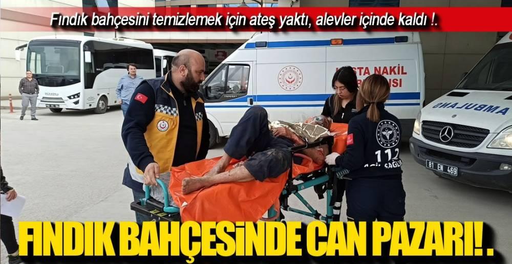 FINDIK BAHÇESİNİ TEMİZLERKEN ALEVLER İÇİNDE KALDI!.