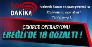 EREĞLİ'DE 18 GÖZALTI !