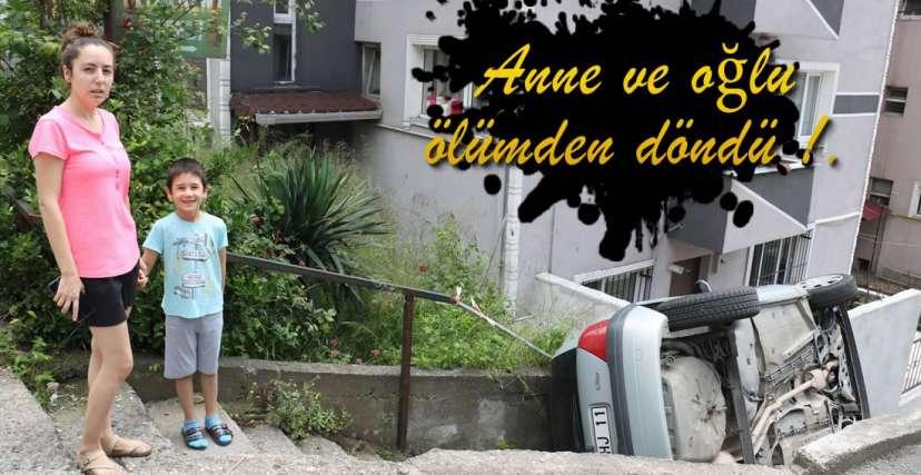 ARAÇ MERDİVEN BOŞLUĞUNA DÜŞTÜ !.