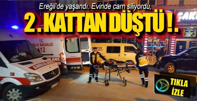 CAM SİLERKEN DÜŞTÜ !.